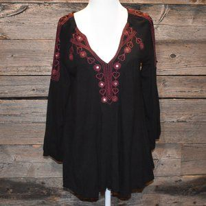 Black and Red Embroidered Boho Peasant Blouse XS